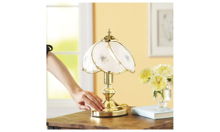 Better Homes And Gardens Floral Glass Shade Touch Lamp Groupon