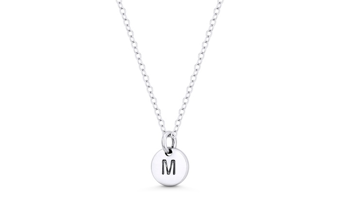 Beautiful Sterling silver 925 sterling Sterling Silver Rhodium-plated Stamped Initial T Charm