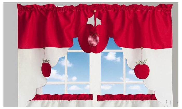 Chef's Apple 3 Piece Kitchen Curtain Valance Swag With 2