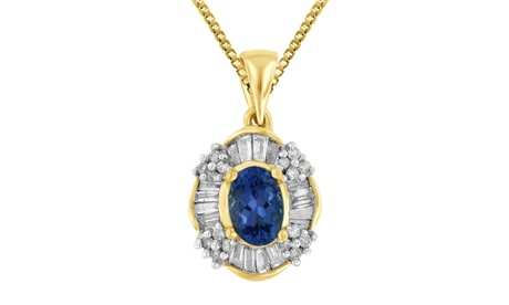 1.50 Cttw Tanzanite and Diamond Pendant Chain Necklace 14K Yellow Gold Jewelry