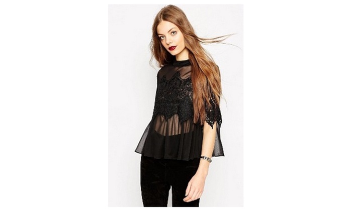 Women Designing Bust Loose Lace Shirt and Blouse Black UWSB778 UWSB777