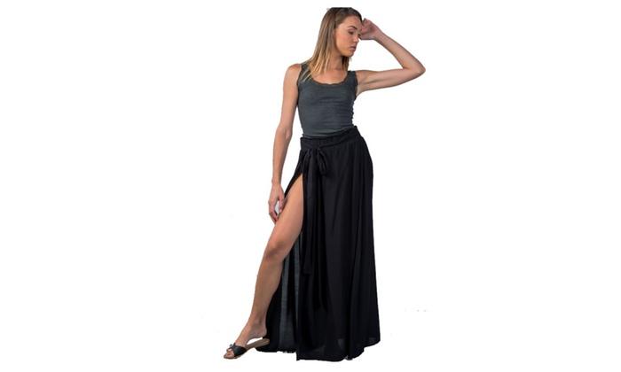 dc8ca48fee Black Tie Waist Double Slit Maxi Skirt | Groupon