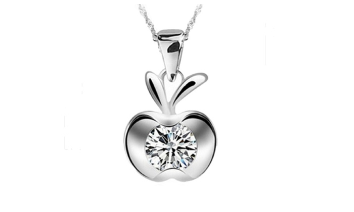Silver plated cubic zirconia charm small flat apple pendant necklace mozeypictures Image collections