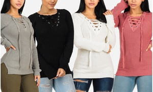 Women's Cozy Warm Knitted Long Sleeve Lace-Up Sweater