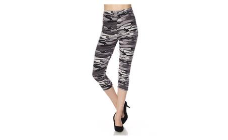 Black & White Camo Camouflage Print Yoga Gym Cropped Capri Leggings 8b6889cb-ca31-4b83-b57a-e0f34d09967d