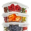 Glass Meal Prep Food Storage Containers 3 Compartment with Vented Lids