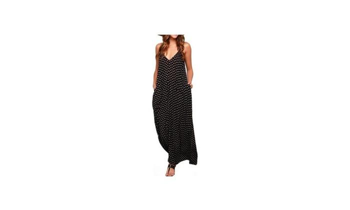 Women V-neck Polka Dot  Print Spaghetti Strap Pocket Boho maxi dress
