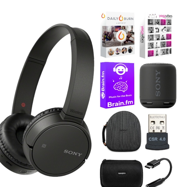 Sony CH500 Wireless Headphones (Black) with Portable Bluetooth Speaker Bundle