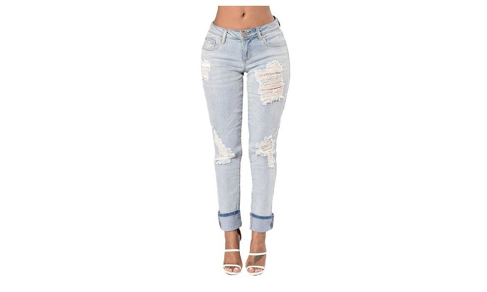Women's Slim Fit High Rise Textured Ripped Casual Jeans