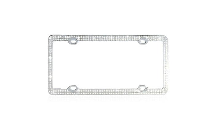 groupon goods white sparkling crystals metal license plate frame with chrome coating - White License Plate Frame