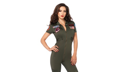 Leg Avenue Women's Top Gun Flight Suit Sexy Maverick Pilot Halloween Costume
