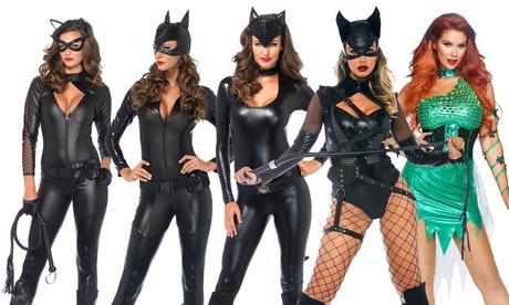 Leg Avenue Women's Feline Femme Fatale Catsuit Set Bodysuit Halloween Costume