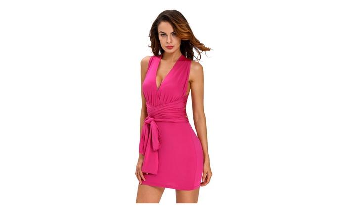 Women's Rosy Multi-wear Open Back Club Cocktail Party Mini Dress