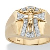 Men's 1/3 Cttw. Round 18k Gold over .925 Sterling Silver Diamond Crucifix Ring