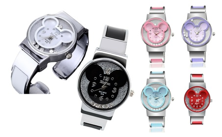 Mickey Mouse Crystal Face Watch Bracelet Cuff Womens Girls Kids Ladies