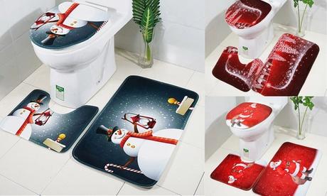 3pcs Christmas Toilet Seat Cover Rug Set Santa Claus Bathroom Mat Xmas Decor