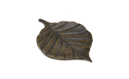 """Antiqued Finish Metal Leaf Inspired Decorative Tray Plate 16"""" long 6ae35d18-f299-475b-a3d3-81fd20a9ea48"""