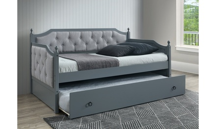 Esche Solid Rubberwood Grey Fabric Twin Captain Daybed with Trundle Bed
