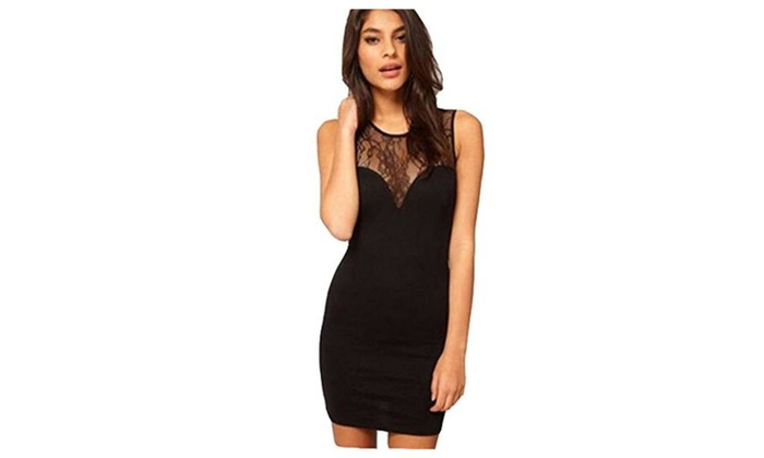 Women's Black Bodycon Lace Sleeveless Party Mini Dress