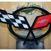 "C5 Corvette Crossed flag Wall Emblem Large Metal Art 97-04 32"" x 15"""