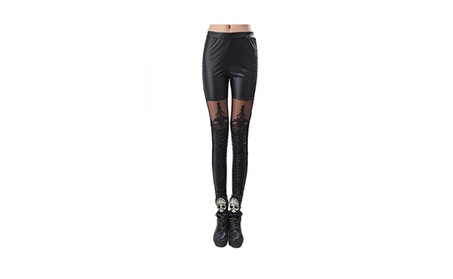 Women's PU Leather Pants Lace Skinny Pencil Trousers