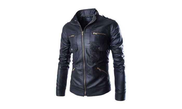 Men's Long Sleeve Regular Fit Casual Casual Faux Leather Coat