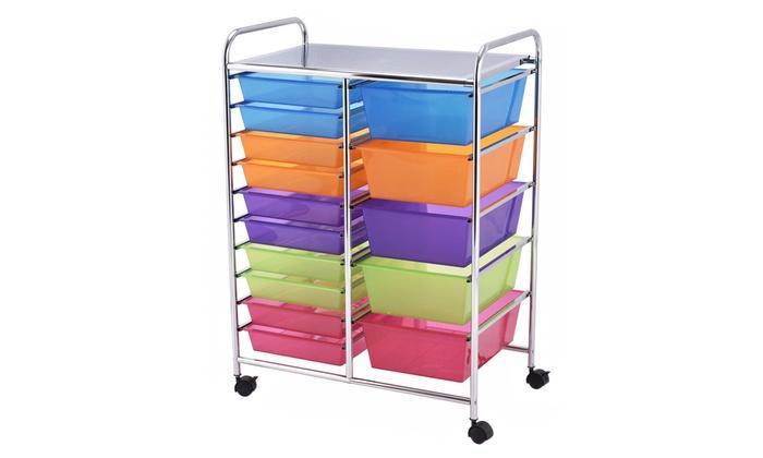Costway 15 Drawer Rolling Storage Cart Tools Scrapbook Paper Organizer ...