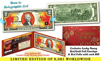 2021 Chinese New YEAR OF THE OX Red Hologram Two-Dollar Bill - Limited to 2,021