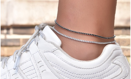 Crystal Prong Tennis Anklets Set in Sterling Silver (2 Pack)