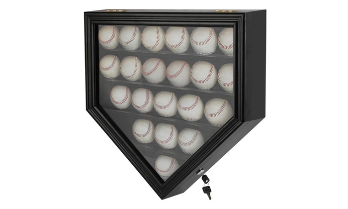 21 Baseball Display Case Wall Mountable Holder Uv Lockable Door