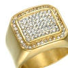 Titanium Stainless Steel Rhinestone Bling Square Rings for Men