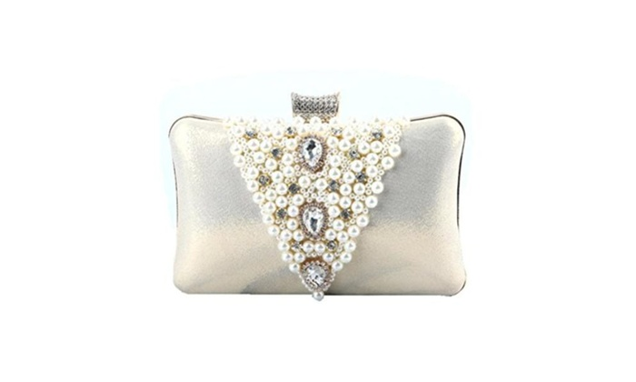 Boddenly Handmade Beaded Bag Dinner Party Hand Bag Luxury Diamond Package - Gold / Small