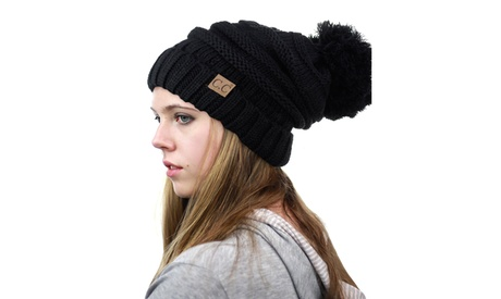 CC Beanie Trendy Over sized Hat Thick Solid Cable Knit with Pom Pom