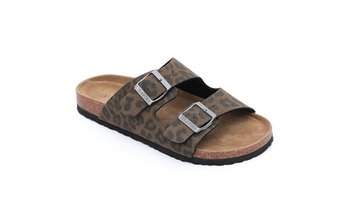 Seranoma Women's Two Strap Cork Ladies Slide Sandal Adjustable Buckle