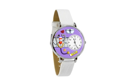 Whimsical Nurse Purple White Skin Leather And Silvertone Watch abdcaebb-42fb-404c-9fb6-30b3ce0cc282