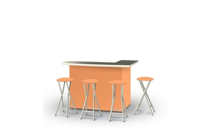 Amazing Best Of Times 2002W1330 Portable Bar With Matching Bar Stools Solid Peach Creativecarmelina Interior Chair Design Creativecarmelinacom