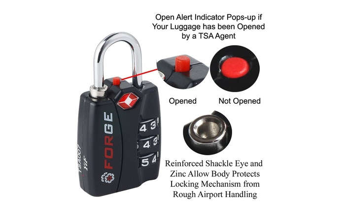 silver 2 TSA Approved Travel Luggage Locks With Red Open Alert Indicator