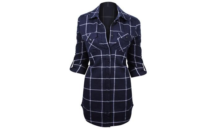 bd8485c9617 Women s Checkered Print Flannel Button Up Belted Tunic Shirt Dress ...