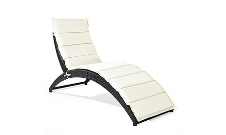 Costway Folding Patio Rattan Lounge Chair Chaise Cushioned Portable Garden Lawn
