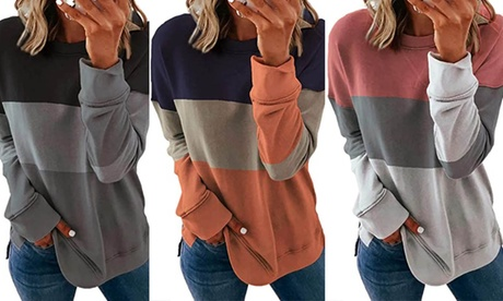Women's Stitching Contrast Color Round Neck Long Sleeve Casual Tops