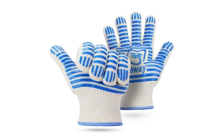 1 Pair 932°F Heat-Resistant Oven Mitts Gloves: Kevlar, Cotton, Silicone - Blue+White 11185ae6-a9b1-46d3-a780-b01a64a3ad54