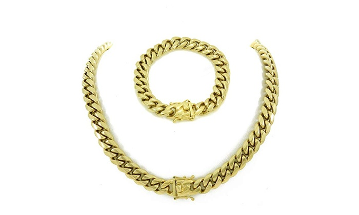 870874e58fd86 Miami Cuban Link Chain & Bracelet Mens Set! 14k Gold Plated Stainless Steel