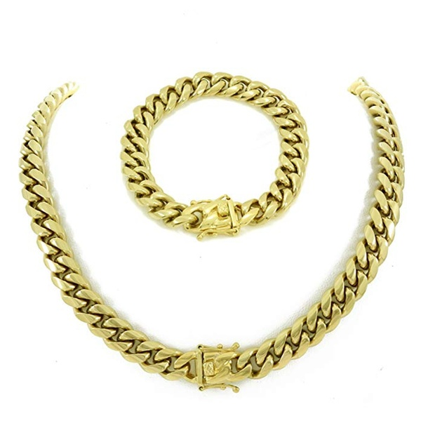 180e2f31f3693 Miami Cuban Link Chain & Bracelet Mens Set! 14k Gold Plated Stainless Steel