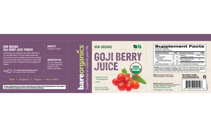 Bareorganics Goji Berry Juice Powder 8oz 227g Groupon