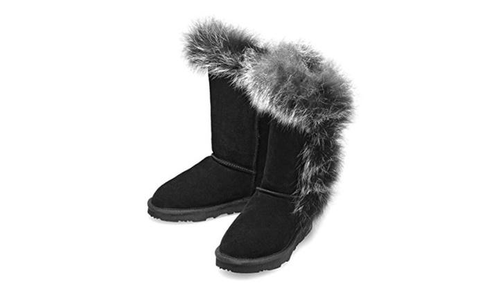 Women's Fur Trim Twin Button/Toggle sheepskin fashion winter boot