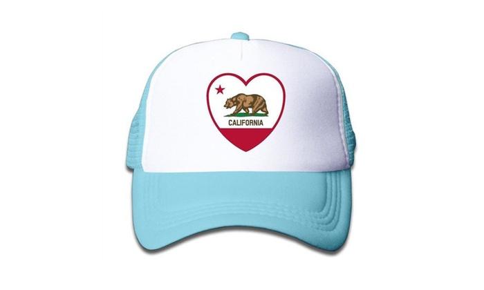 Kids Geek Love Clipart California Flag Baseball Cap Hat Snapback