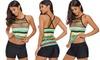 Women Multi Straps Beaded Neck One Piece Swimwear