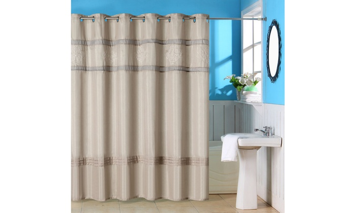 Lavish Home Radcliff Embroidered Shower Curtain