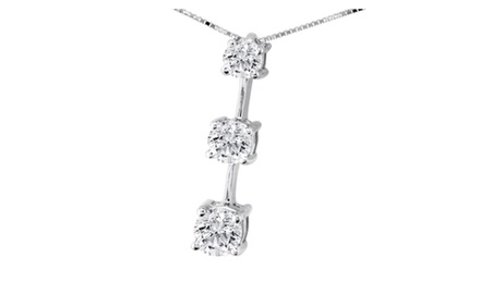 1.00 Ctw Diamond 3 Stone Pendent in 10k White Gold