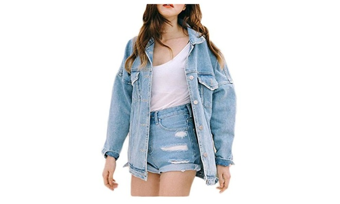 Women's Long Sleeve Button 2 Pocket Boyfriend Denim Coat Jacket
